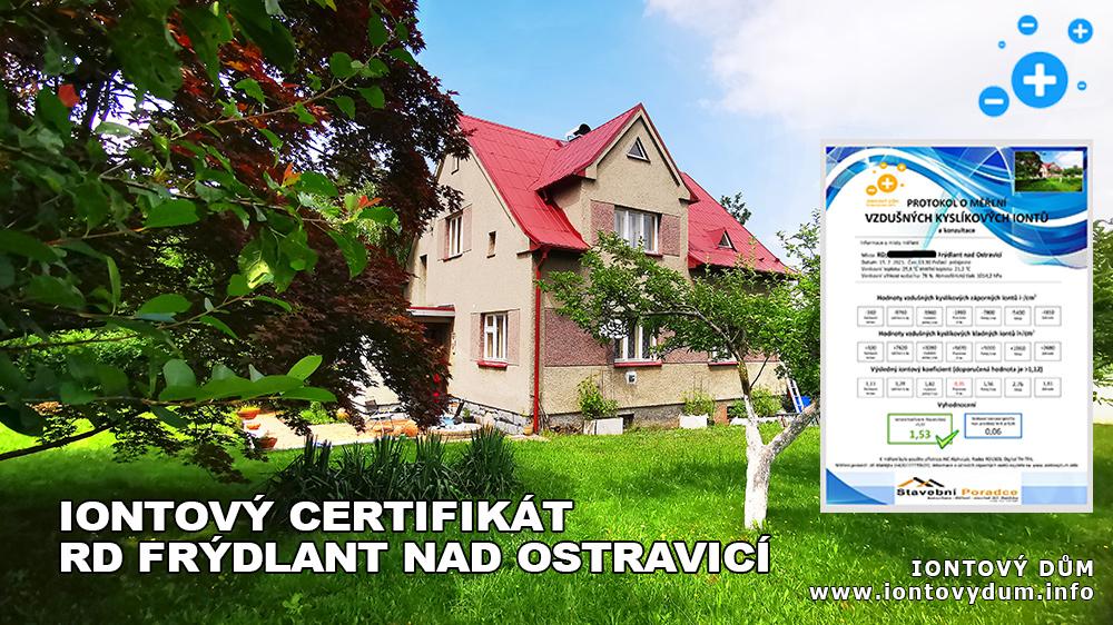 ☺Iontový certifikát – RD Frýdlant nad Ostravicí